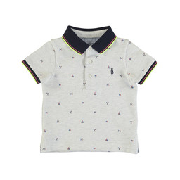 Mayoral Mayoral - Micro Printed Polo Shirt, Vigo Grey