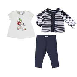 Mayoral Mayoral - 3 Piece Set with Leggings, Navy