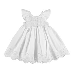 Mayoral Mayoral - Ruched Embroidery Dress, White
