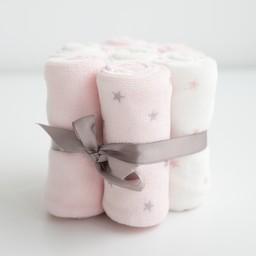 Bouton Jaune Bouton Jaune - Set of 7 Velvet Ratine Washclothes, Pink Stars