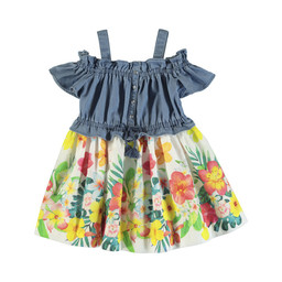 Mayoral Mayoral - Flowers Denim Dress