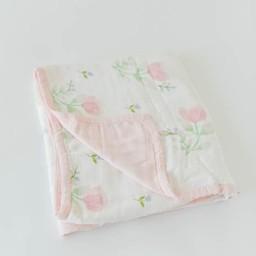 Little Unicorn Little Unicorn - Couette Deluxe en Mousseline de Bambou, Pivoine Rose