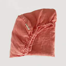 7PM Linen 7PM Linen - Linen Fitted Sheet, Coral