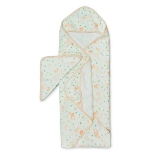 Loulou Lollipop Loulou Lollipop - Bamboo Muslin Hooded Towel and Washcloth Set, Bunny Meadow