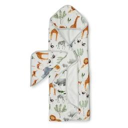 Loulou Lollipop Loulou Lollipop - Bamboo Muslin Hooded Towel and Washcloth Set, Safari Jungle