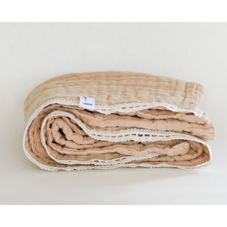 Sauge & Co Sauge & Co - Cotton Muslin Large Light Brown Blanket, Ecru Lace