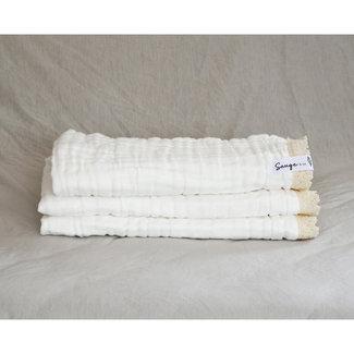 Sauge & Co Sauge & Co - Cotton Muslin Very Large White Blanket, Ecru Lace