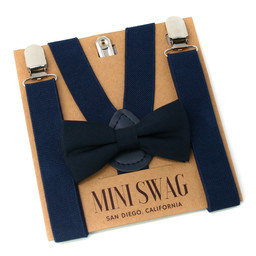 Mini Swag Mini Swag - Bow Tie and Suspenders Set, Navy