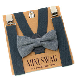 Mini Swag Mini Swag - Bow Tie and Suspenders Set, Grey