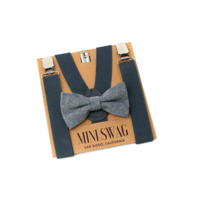 Mini Swag Mini Swag - Bow Tie and Suspenders Set, Grey