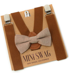 Mini Swag Mini Swag - Bow Tie and Suspenders Set, Coffee Brown