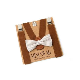 Mini Swag Mini Swag - Bow Tie and Suspenders Set, Coffee Brown Seersucker