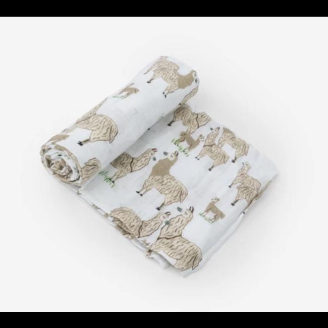 Little Unicorn Little Unicorn - Single Cotton Muslin Blanket, Llama llama