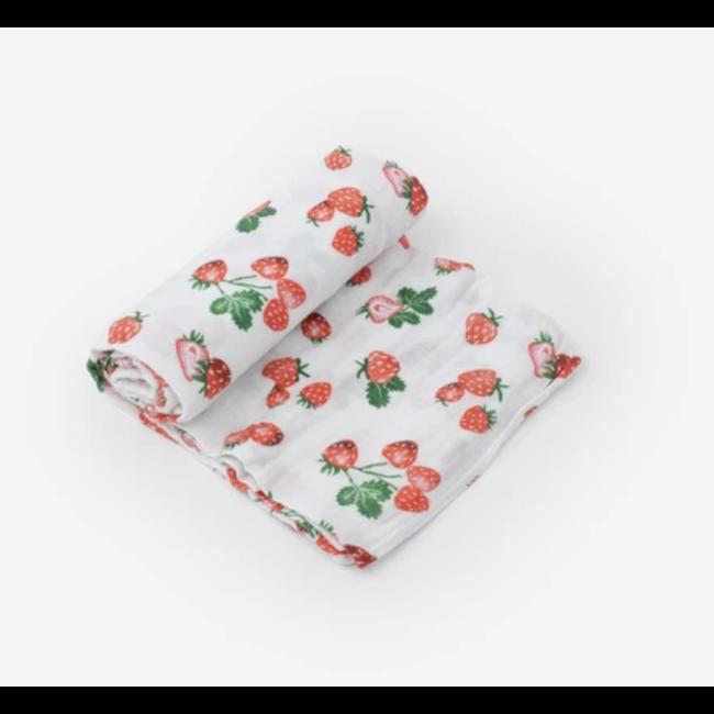 Little Unicorn Little Unicorn - Single Cotton Muslin Blanket, Strawberry Patch