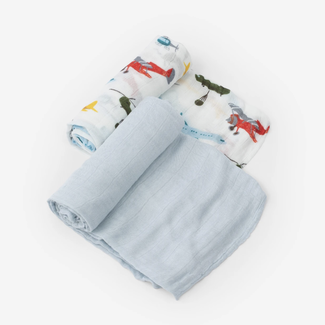 Little Unicorn Little Unicorn - 2 Pack Deluxe Muslin Blanket, Airshow