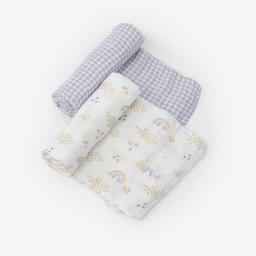 Little Unicorn Little Unicorn - 2 Pack Deluxe Muslin Blanket, Rainbow Gingham