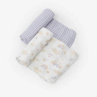Little Unicorn Little Unicorn - 2 Pack Deluxe Muslin Blanket, Rainbow Gingham