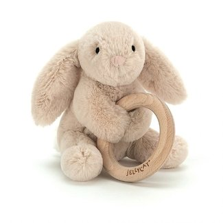 Jellycat Jellycat - Wooden Ring Rattle, Bunny