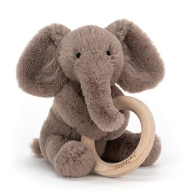 Jellycat Jellycat - Wooden Ring Rattle, Elephant