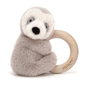 Jellycat Jellycat - Wooden Ring Rattle, Sloth