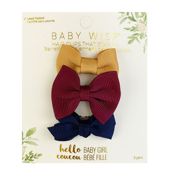 Baby Wisp Baby Wisp - 3 Pack Mini Latch Bows, Vintage Gold, Burgundy and Navy