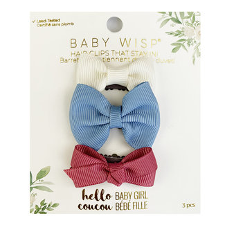 Baby Wisp Baby Wisp - 3 Pack Mini Latch Bows, Ivory, French Blue and Colonial Rose