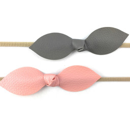Baby Wisp Baby Wisp - 2 Pack Leather Knot Headband, Pink and Grey