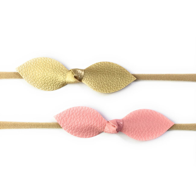 Baby Wisp Baby Wisp - 2 Pack Leather Knot Headband, Pink and Gold