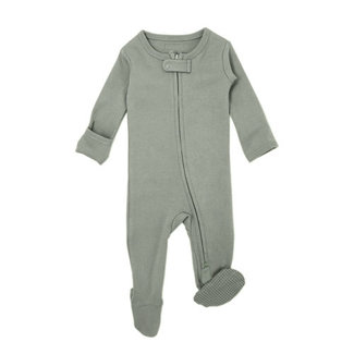L'ovedbaby - Organic Reverse Zipper Footed Overall, Seafoam