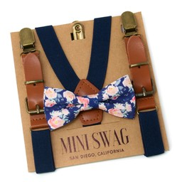 Mini Swag Mini Swag - Bow Tie and Suspenders Set, Floral Navy Leather