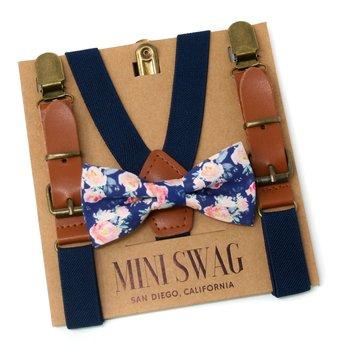 Mini Swag Mini Swag - Ensemble Bretelles et Noeud Papillon, Floral Cuir Marine
