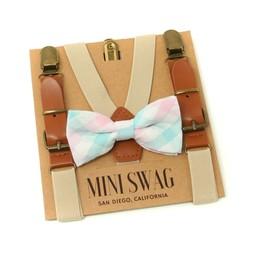 Mini Swag Mini Swag - Bow Tie and Suspenders Set, Aqua Plaid Kaki Leather
