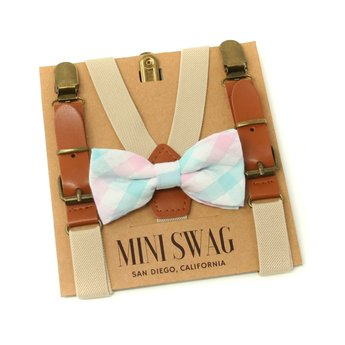 Mini Swag Mini Swag - Bow Tie and Suspenders Set, Aqua Plaid Kaki Leather