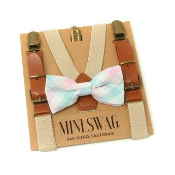 Mini Swag Mini Swag - Ensemble Bretelles et Noeud Papillon, Carreaux Aqua Cuir Kaki