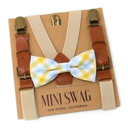 Mini Swag Mini Swag - Bow Tie and Suspenders Set, Yellow Plaid Kaki Leather