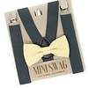 Mini Swag Mini Swag - Bow Tie and Suspenders Set, Yellow Gingham Grey