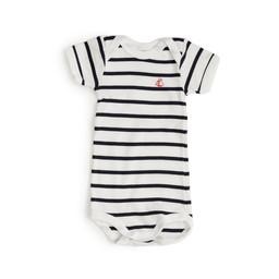 Petit Bateau Petit Bateau - Short Sleeves Romper, Big Stripes