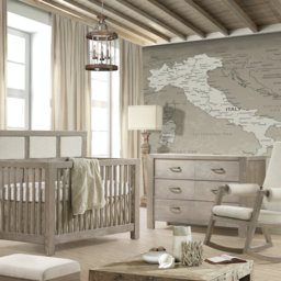 Natart Juvenile DEMO SALE - Natart Rustico - 5-in-1 Owl Convertible Crib with 3 Talc Pannels + Owl Double Dresser