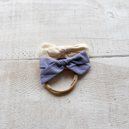Mini Bretzel Mini Bretzel - Linen Bows Headband Duo, Cream and Stripes