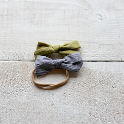 Mini Bretzel Mini Bretzel - Linen Bows Headband Duo, Khaki and Stripes