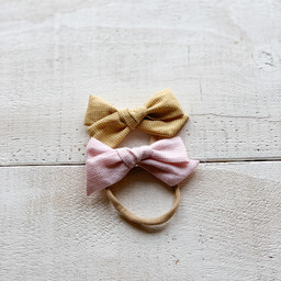 Mini Bretzel Mini Bretzel - Bows Headband Duo, Chekered Pink and Yellow