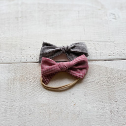 Mini Bretzel Mini Bretzel - Bows Headband Duo, Chekered Black and Red
