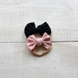 Mini Bretzel Mini Bretzel - Bows Headband Duo, Chekered Black and Pink