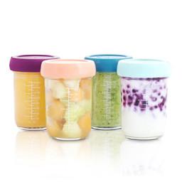 Babymoov Babymoov - Set of 4 Glass Babybowls, 8oz, Assorted Colors