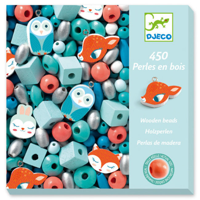 Djeco Djeco - Wooden Beads for Jewelry, Small Animals