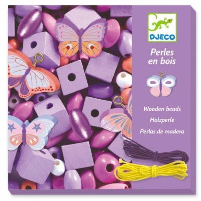Djeco Djeco - Perles de Bois pour Bijoux, Papillons