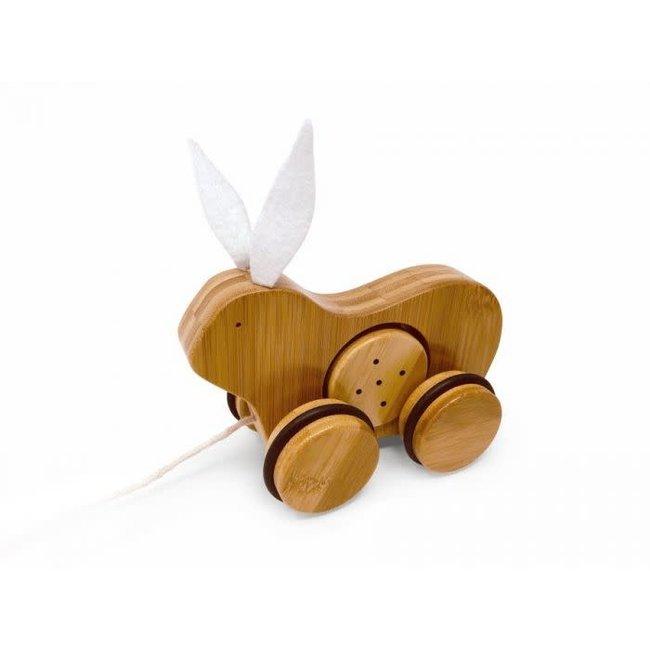 Kinderfeets Kinderfeets - Bamboo Push Pull Toy, Rabbit