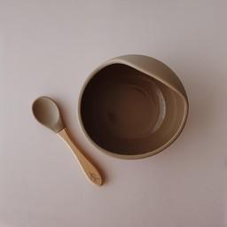 Pois et Moi Pois et Moi - Silicone Bowl and Spoon Set, Taupe