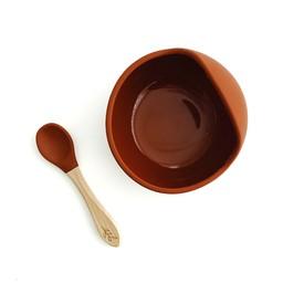 Pois et Moi Pois et Moi - Silicone Bowl and Spoon Set, Rust