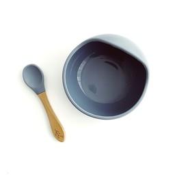 Pois et Moi Pois et Moi - Silicone Bowl and Spoon Set, Dark Grey